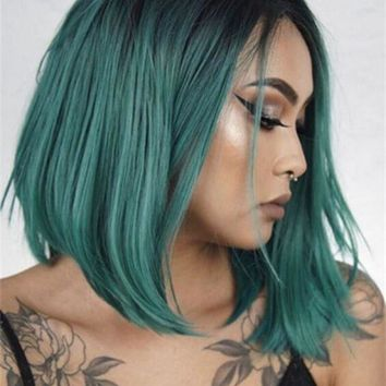 Light Blue Bob Synthetic Lace Front Wig