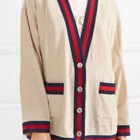 Gucci - Oversized grosgrain-trimmed silk crepe de chine cardigan