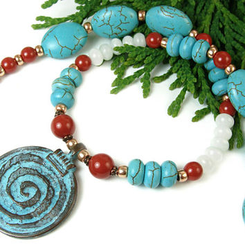 Spiral Pendant Necklace in Red, Turquoise, White, and Copper Colors, Coral Pearls, Magnesite, Quartz, Handmade Beaded Jewelry, Mykonos Focal