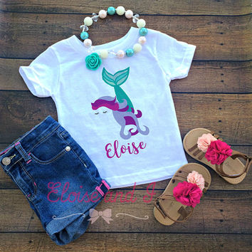 personalized mermaid baby outfit, mermaid toddler shirt, newborn outfit, mermaid baby shower gift, monogrammed baby girl coming home outfit