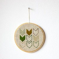 Decor Hand embroidery in wooden hoop Chevrons green