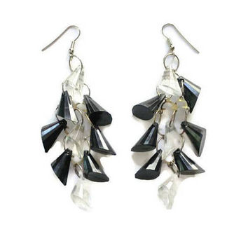 Black And Clear Geometric Prism Cluster Earrings, Retro Jewelry