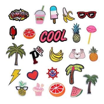 Hoomall 1Set Mixed Cartoon Fruit Punk Patches For Clothing Tshirt Embroidered Iron On Patches Sticker Sewing Craft DIY Scrapbook