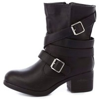 Bamboo Belt-Wrapped Chunky Heel Moto Boots by Charlotte Russe - Black