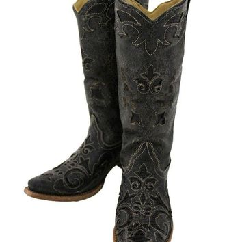 DCCKAB3 Corral Black Vintage Lizard Inlay Snip Toe Boots C1198
