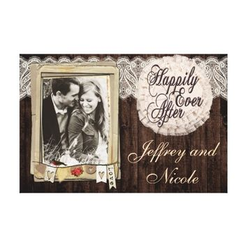 Beautiful Country Rustic Wedding Couple Wall Art Canvas Print