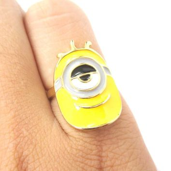 Despicable Me Inspired Stuart One Eyed Minion Ring in Gold | DOTOLY