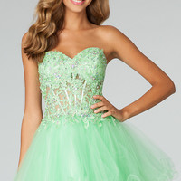 Short Strapless Babydoll Dress by JVN by Jovani