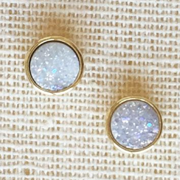 Kixters - White Iridescent Druzy Stud Earrings