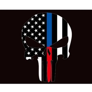 Punisher Skull flag with Thin Blue Line 3x5ft banner with two metal Grommets white sleeve