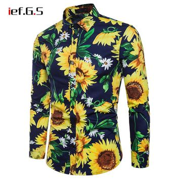 IEF.G.S men shirt casual long sleeve floral sunflower print fashion shirtdress sunshirt brand tops streetwear Camisa masculina