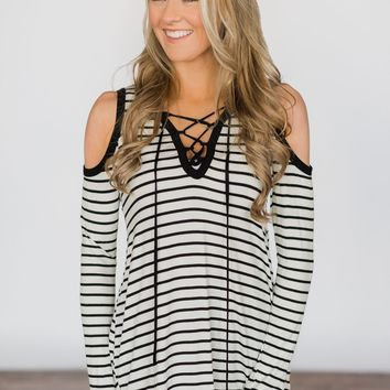 Tied Up Over You Long Sleeve Striped Top