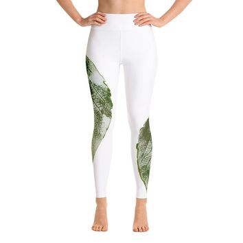 Green Leaf Print Yoga Leggings