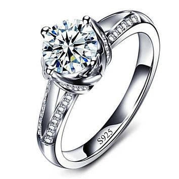 Solitaire Pave CZ Engagement Rings - Women