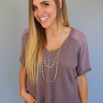 Hillside Chiffon Ribbed Top Plum