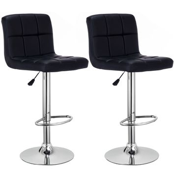 Set Of 2 Bar Stools PU Leather Adjustable Barstool Swivel Pub Chairs Black New