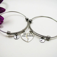 Best Friends Bracelet Bangle - Best Friend Heart Charm - Friendship Charm Bracelet - Initial Bracelet - Personalized Gift - Custom Bracelet