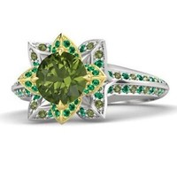 Lotus Style 925 Sterling Silver Multicolor CZ For Princess Tiana Engagement Ring