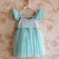 2015 Girls Sequins Dresses Summer Children Gauze Camisole Princess Party Dresses.