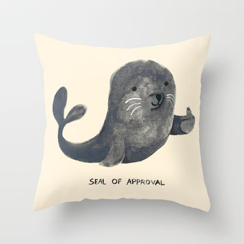 Seal Of Approval Throw Pillow by Budi Satria Kwan