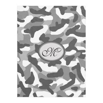 Monogram Personalized Grey Gray Camo Camouflage Fleece Blanket