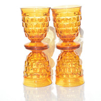 Set of Four Amber Whitehall Glasses from Indiana Glass, Amber Tumblers, Vintage Barware, Amber Tumblers,