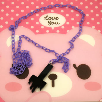 Pastel Goth Black Drippy Cross Necklace with Purple Plastic Chain