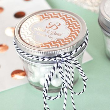 Personalized Metallic Foil Small 4 oz Mason Jars - Wedding (Set of 24)