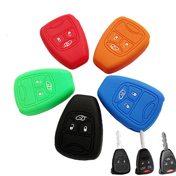 Accessories SILICONE KEY COVER FIT FOR JEEP Commander Compass Wrangler DODGE Ram Patriot Caravan Avenger Caliber CHRYSLER