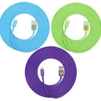 3PCS of HEAVY-DUTY Lightning to USB Sync Charger Data Cable Cord 10ft / 3m for iPhone 5s / 5c / 5, iPhone 6 / 6plus, ipad Air / Mini / iPod Touch 5 and Nano 7 - (blue green purple)