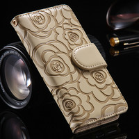FLOVEME Camellia Flower Leather Case For iPhone 6 7 6S Plus 5 5S SE Book Flip Stand Wallet Cover Bag For iPhone 7 6 6S Plus 5S
