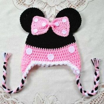 VONE05O free shipping, Halloween Handmade Crochet Black and pink Minnie baby hat caps Kids Beanie , 100% cotton baby girls hat