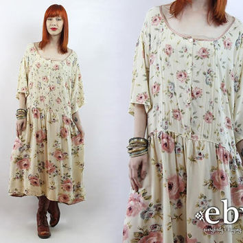Vintage 90s Cream Floral Babydoll Dress 4X 5X 90s Dress 90s Floral Dress Soft Grunge Dress Summer Dress Plus Size Dress Plus Size Vintage