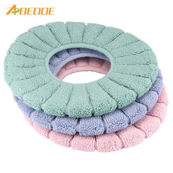 ABEDOE Hot Soft Toilet Seat Cover Cute Lid Top Warmer Comfortable Washable for Bathroom Products Cotton Pedestal Pan Cushion Pad
