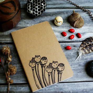 Autumn Poppy Flower Pod Notebook Moleskine Journal Hand Carved Rustic Nature Floral Garden Hike Camping Hostess Gift Thanksgiving