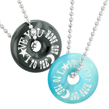Love You to the Moon and Back Best Friends Couples Amulets Agate Blue Simulated Cats Eye Necklaces