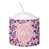 Custom Pink and Blue Floral Pattern Votive Candle