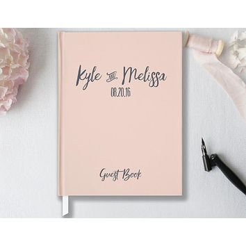 Wedding Guest Book, Hardcover, Blush Pink and Gray, Choice of Colors & Sizes