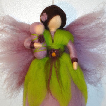 Purple Blossom Fairy, Spring Flower Fairy with Baby, Grapes, Violets, Waldorf doll, Angel, Blessing, Magic Wool, needle felted