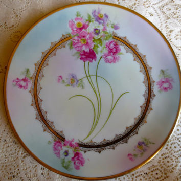 Decorative Vintage Bavarian Floral Plate.  Pink Roses with Blue Background.  Wall Plate, Display Plate, Cake Plate