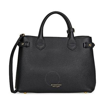 Burberry Medium Banner House Check Leather Tote - Black