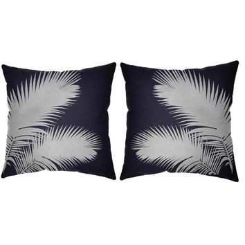 Metallic Silver Palm Fronds Throw Pillows