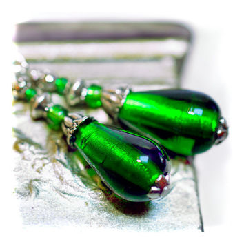 Deep Green Murano Earrings silver foil drops  by MADEbyMADA