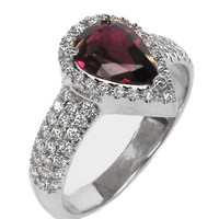Ruby Ring, Engagement ring, Pear-cut, Pave-set diamonds,18K White gold, Jewelry,marriage,pave ring, wedding party