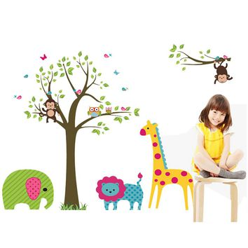 Nursery Wall Sticker Vinyl Owl Giraffe Animals Kids Decor Decal Stickers