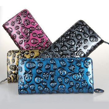 European Style Vogue Women Wallet Skull Pattern Leather Clutch Superfine Money Purse Lady Punk Carteira Card Holder Free Shiping