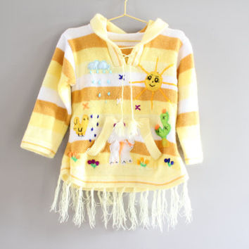 Handmade Toddler Yellow Hoodie Girl's Hooded Sweater Animal Patchwork Sweater Girl Jumper Size 3 to 4 years old