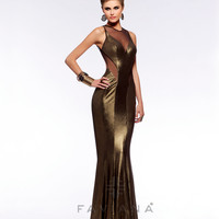 Faviana 2013 Prom - Oscar Gold Foil Jersey Mermaid Prom Gown - Unique Vintage - Cocktail, Pinup, Holiday & Prom Dresses.