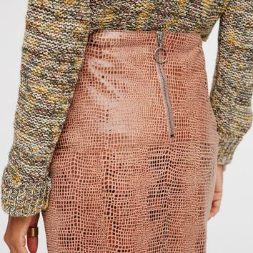 Free People Sara Leather Pencil Skirt