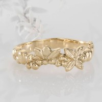 Flower Wedding Band, Unique Flower Ring, 14k Gold Flower Ring, Stackable Ring, Flower Ring Women, Floral Band, Floral Band Rings For Women